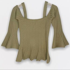 Ronny Kobby Flare Sleeve Cold Shoulder Sweater Tan